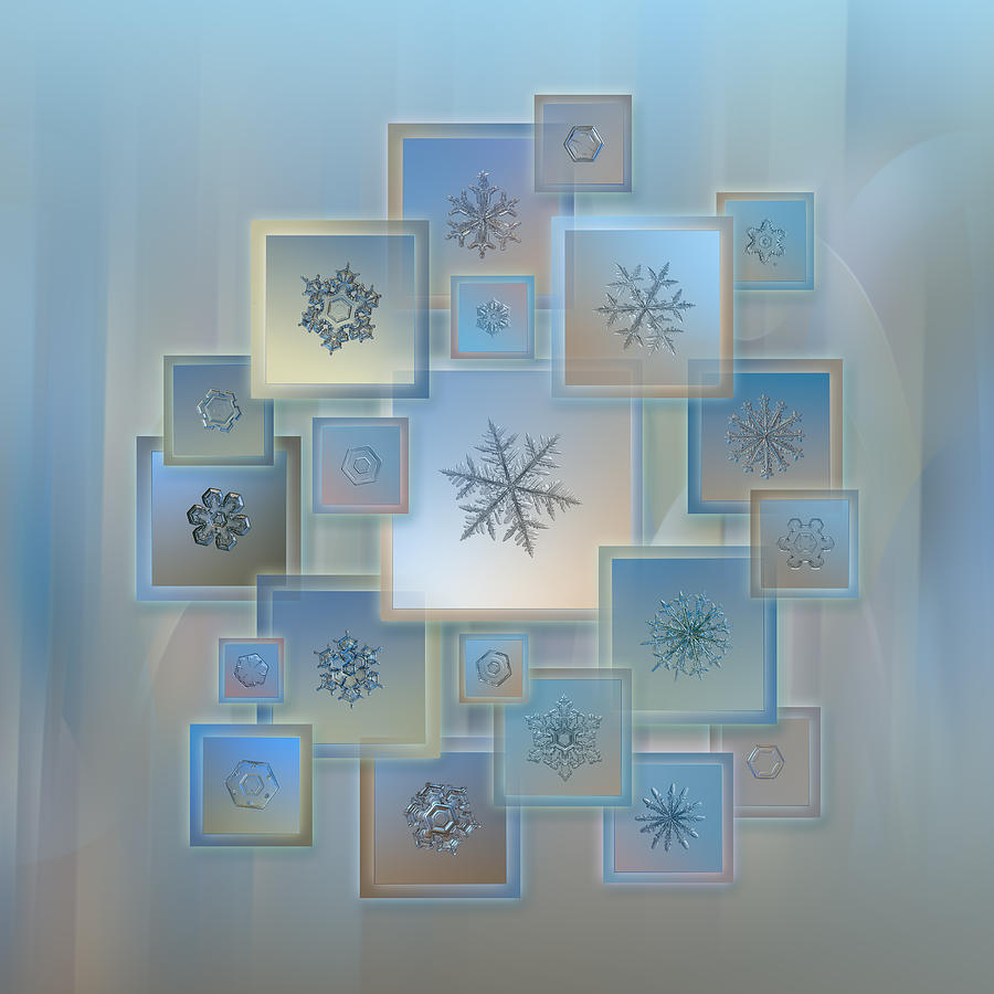 Snowflake Photograph - Snowflake Collage - Bright Crystals 2012-2014 by Alexey Kljatov