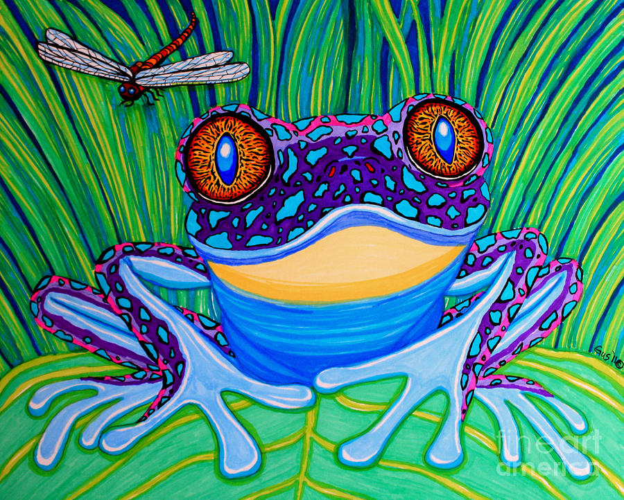 Frog Drawing - Bright Eyed Frog by Nick Gustafson