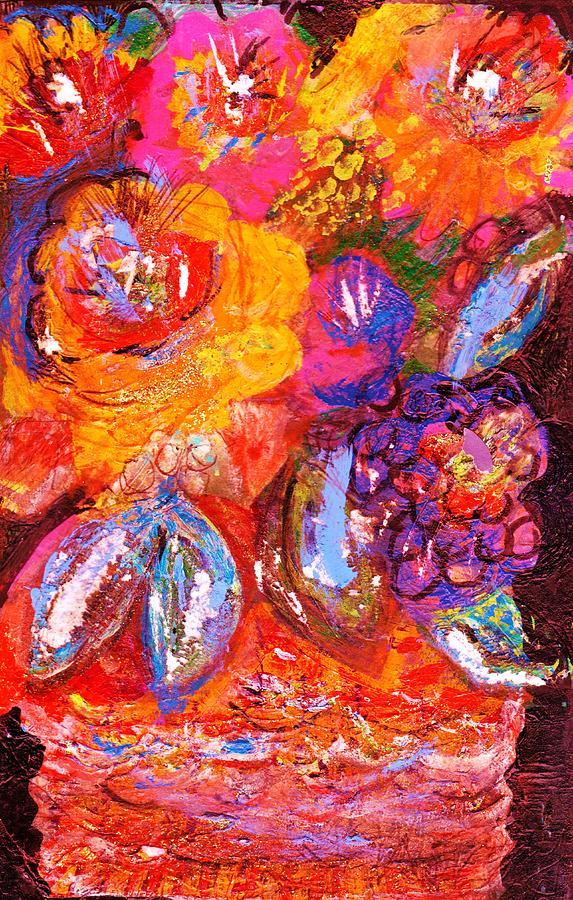 Bright Mixed Media - Bright Fantasy Floral by Anne-Elizabeth Whiteway
