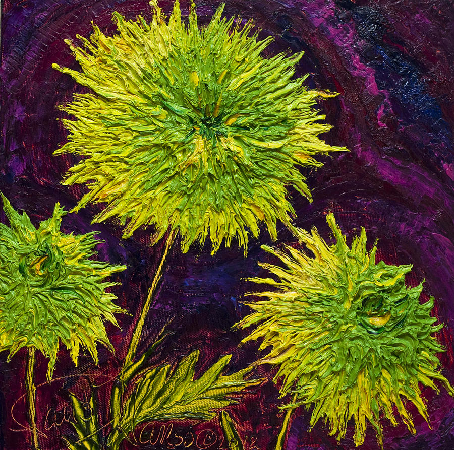 Oil On Canvas Painting - Bright Green Mums by Paris Wyatt Llanso