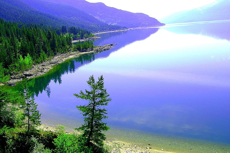 Lake Photograph - Bright Kootenay Lake by Mavis Reid Nugent