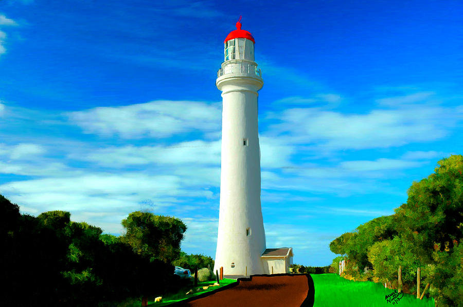 Lighthouse Painting - Bright Lighthouse by Bruce Nutting