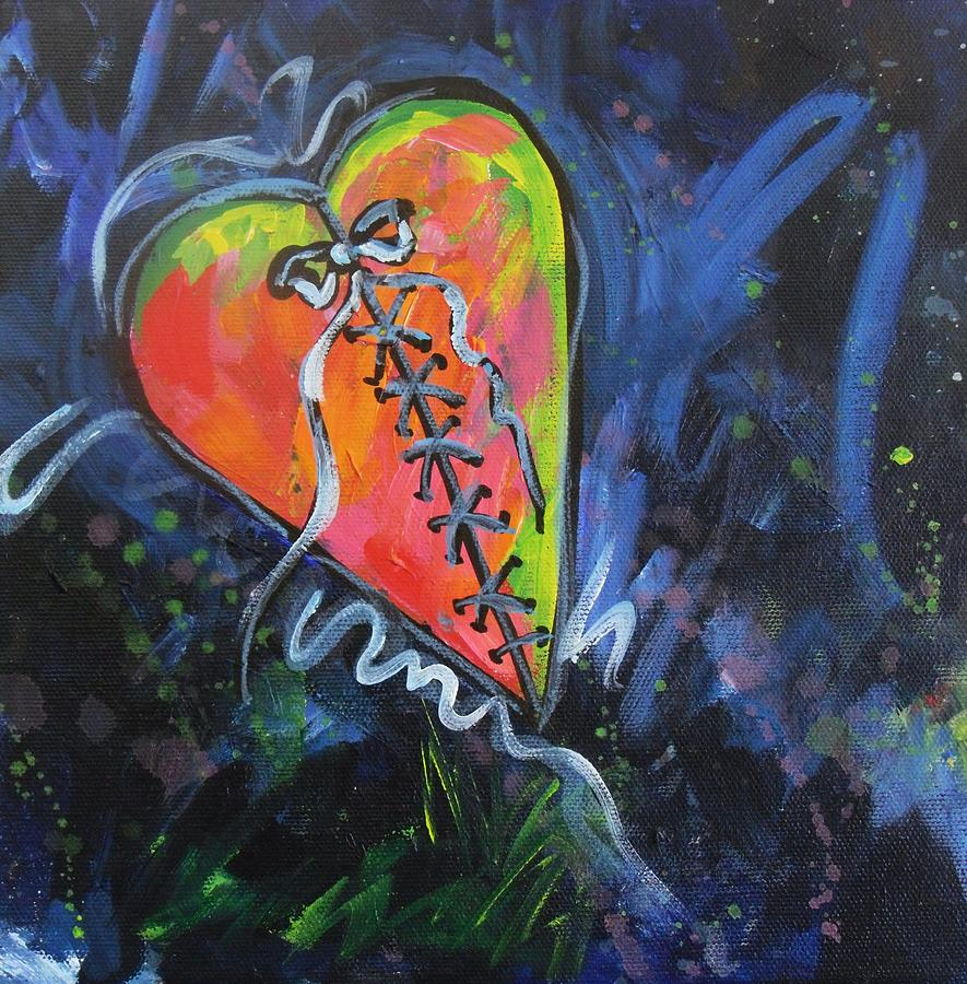 Heart Painting - Bright Mended Broken Heart by Carol Suzanne Niebuhr
