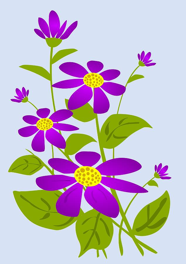 Plant Digital Art - Bright Purple by Anastasiya Malakhova