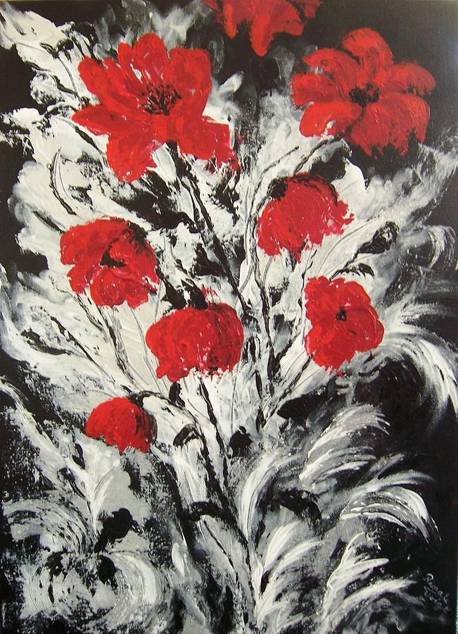 Bright Red Poppies Painting by Renate Voigt