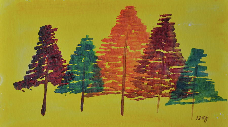 Watercolor Painting - Bright Trees by Kimberly Maxwell Grantier