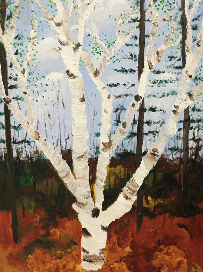 Tree Painting - Brightest Birch by Suzanne  Marie Leclair