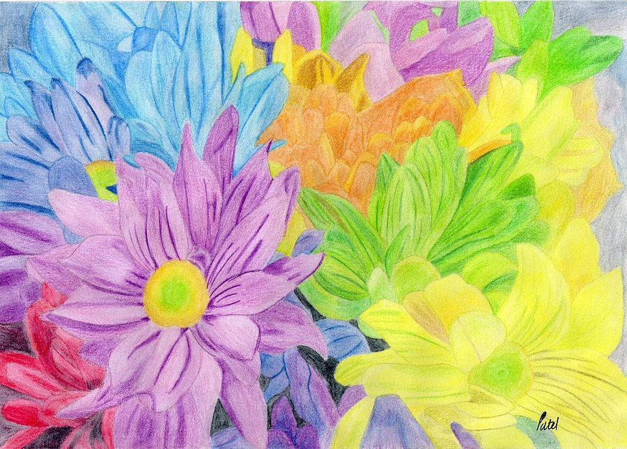 Bright Painting - Brightly Coloured Flowers by Bav Patel