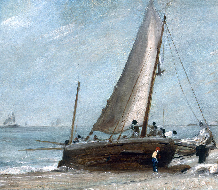 Brighton Painting - Brighton Beach With Fishing Boats by John Constable
