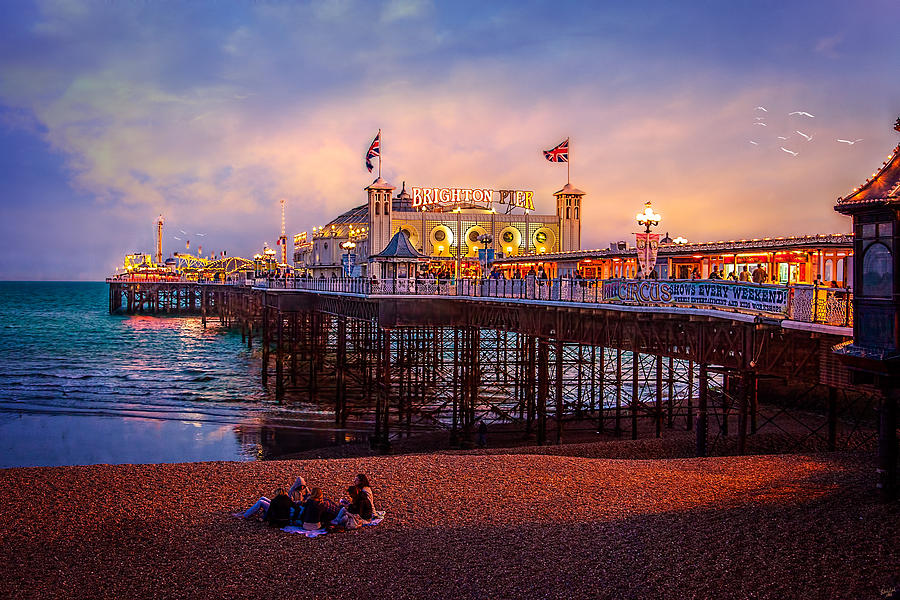 Pier Photograph - Brightons Palace Pier At Dusk by Chris Lord