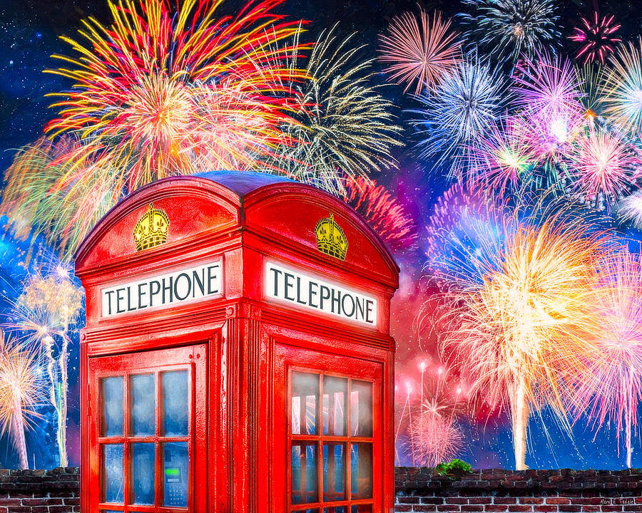 British Photograph - Brilliant Fireworks Over A Classic British Phone Box by Mark E Tisdale