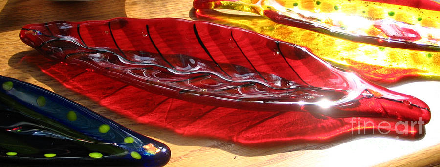 Art Glass Glass Art - Brilliant Red Feather Glass Dish by Donna Spencer