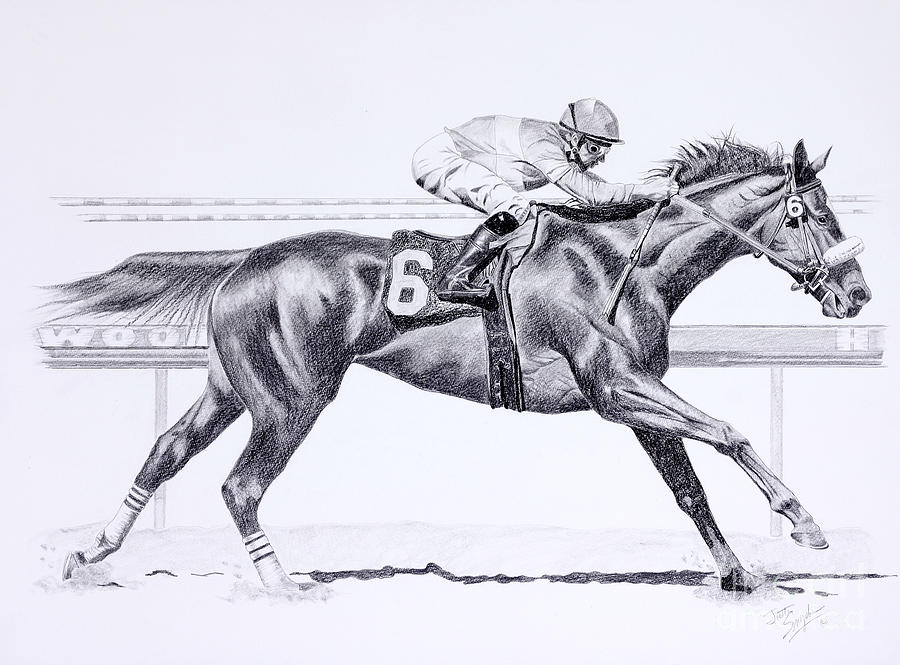 Horses Drawing - Bring On The Race Zenyatta by Joette Snyder