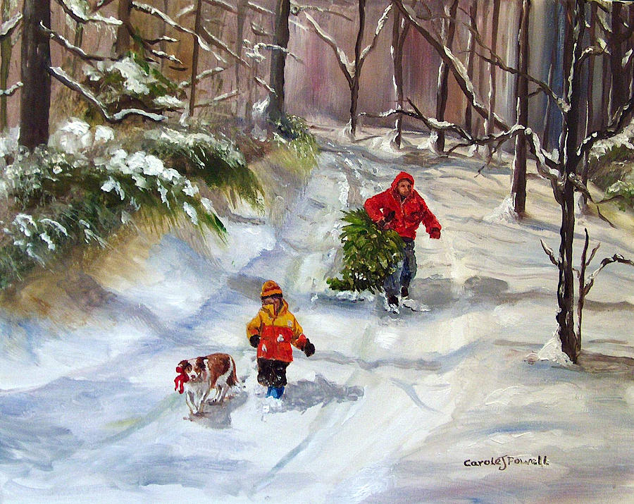 Bringing home the christmas tree painting by carole powell for Christmas images paintings
