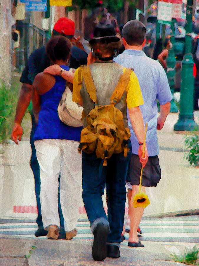 Man Photograph - Bringing The Sunflower Home by Alice Gipson