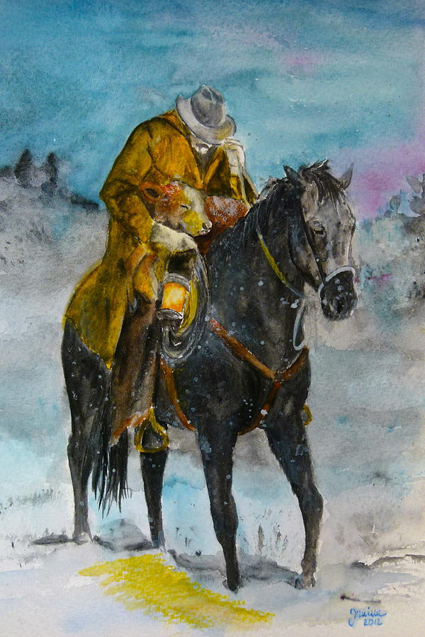 American Horse Painting - Bringing You Home by Janina  Suuronen
