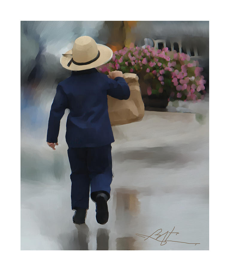Amish Painting - Brining It Home To Mom by Bob Salo