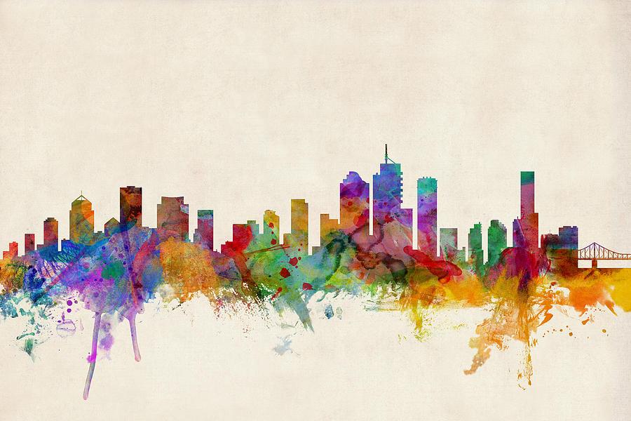 Brisbane Australia Skyline Digital Art By Michael Tompsett