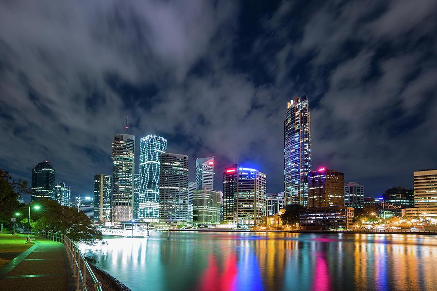 Brisbane City At Night Photograph by Photography By Byron Tanaphol Prukston