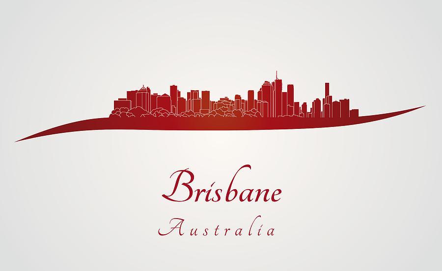 Brisbane Skyline In Red Digital Art