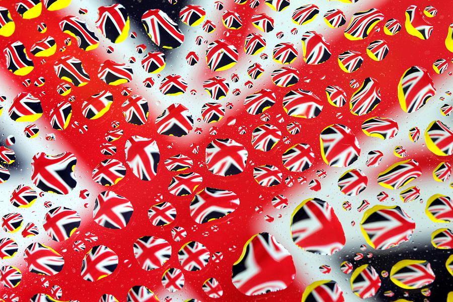 Britain Painting - Britain Flag In Water Drops by Paul Ge
