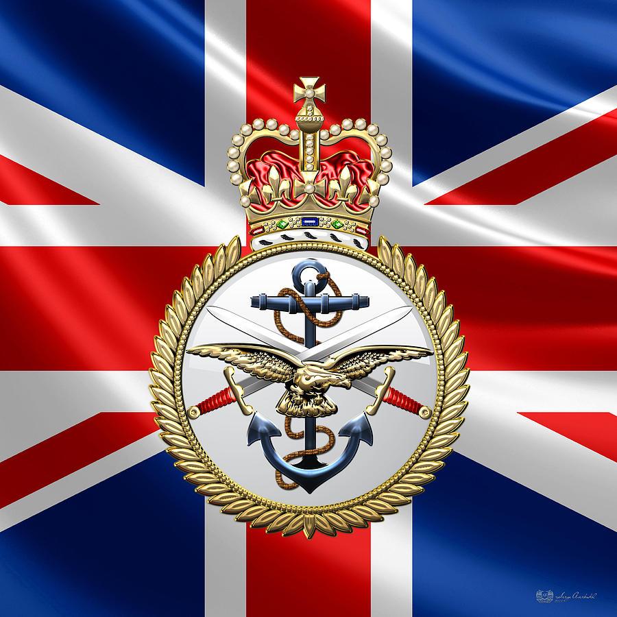British Armed Forces Emblem Over Flag Digital Art By Serge Averbukh