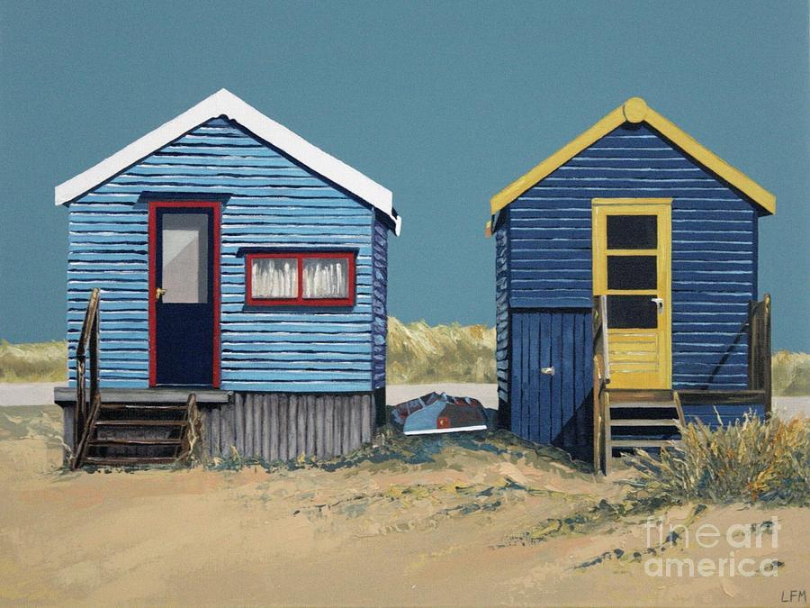British Beach Huts Painting By Linda Monk