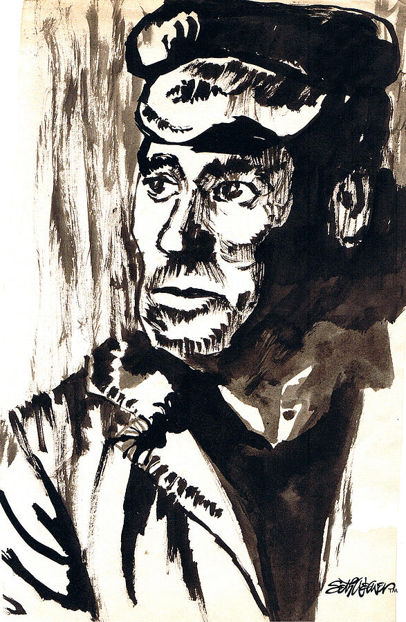 Working Man Drawing - British Coal Miner by Seth Weaver