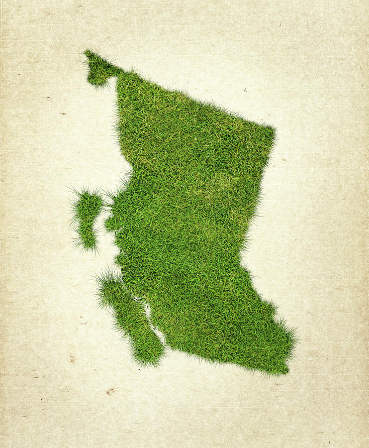 British Columbia Map Photograph - British Columbia Grass Map by Aged Pixel