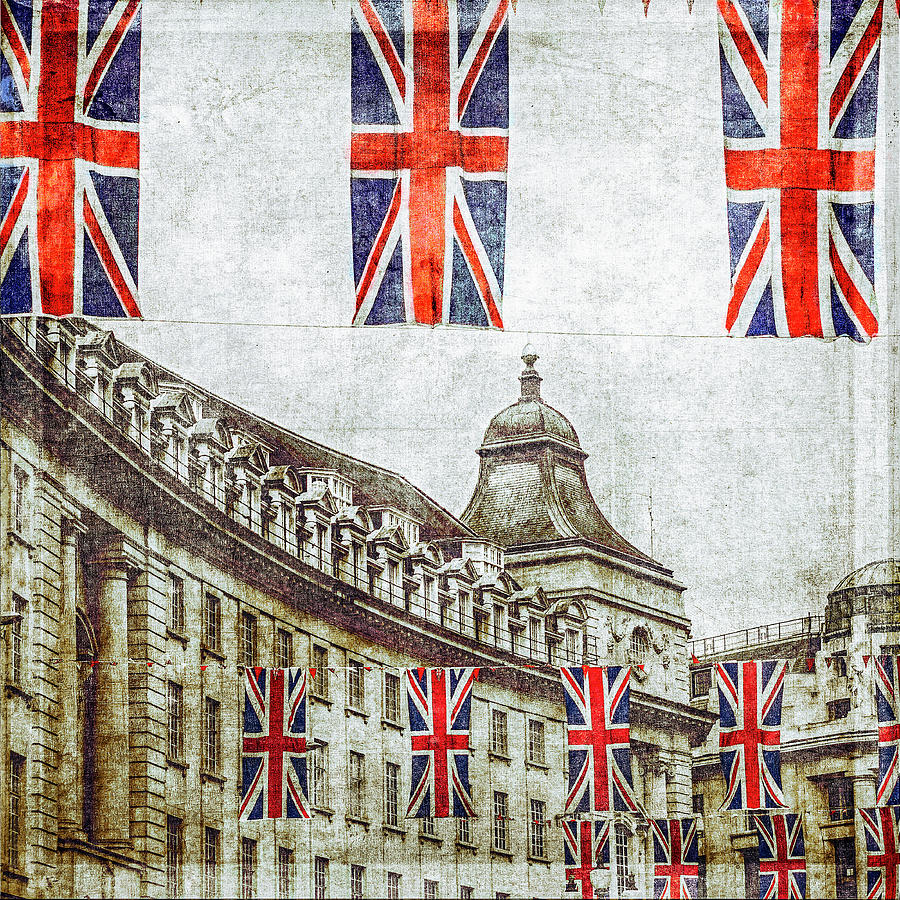 British Flags Flying Above Regent St Photograph by Doug Armand