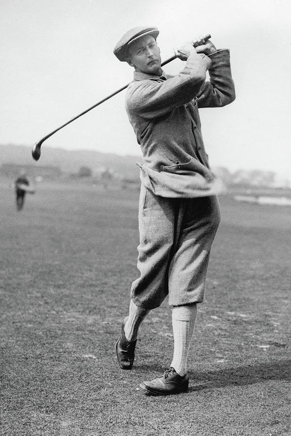 British Golfer Sir Ernest Holderness Swinging Photograph by Artist Unknown