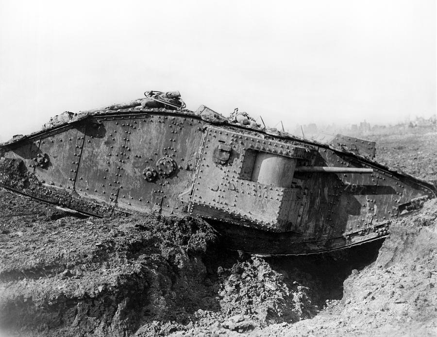 1910's Photograph - British Tank Crossing A Trench by Underwood Archives