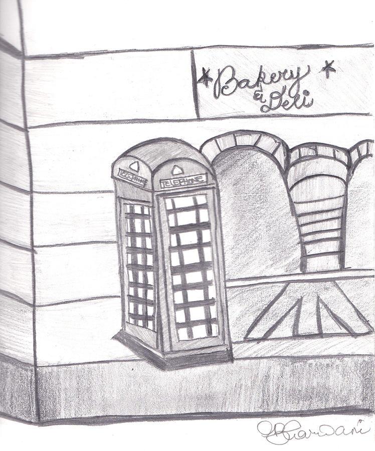 London Drawing - British Telephone Booth   by Melissa Vijay Bharwani