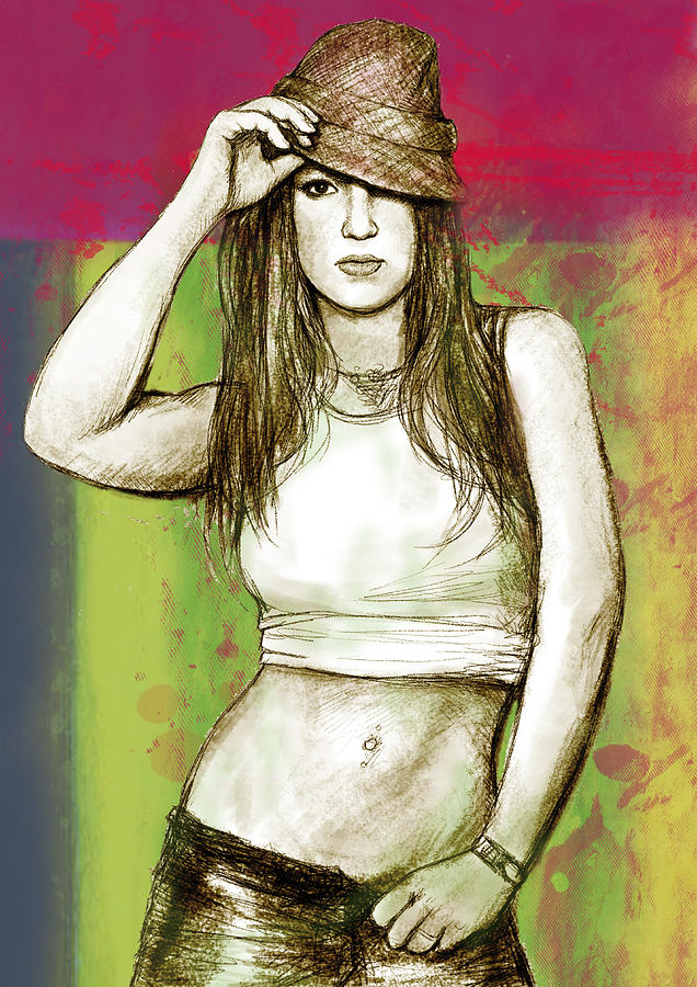 Art Drawing Sharcoal.ketch Portrait  Drawing - Britney Spears - Stylised Drawing Art Poster by Kim Wang