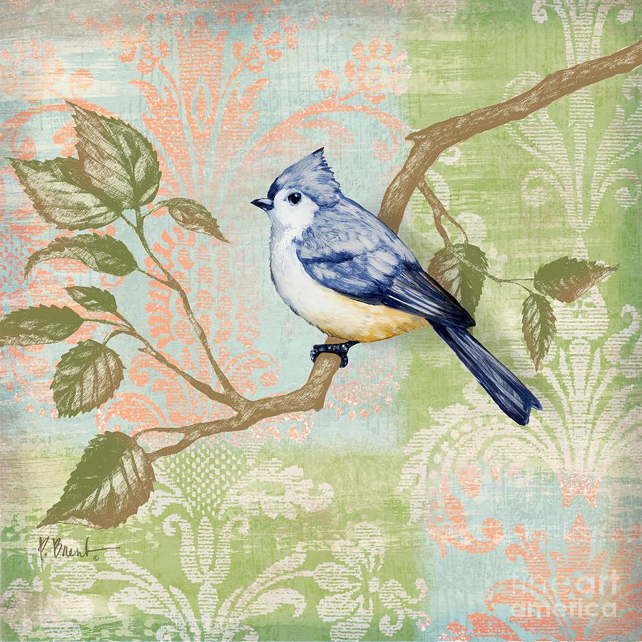 Fabric Painting - Brocade Songbird II by Paul Brent