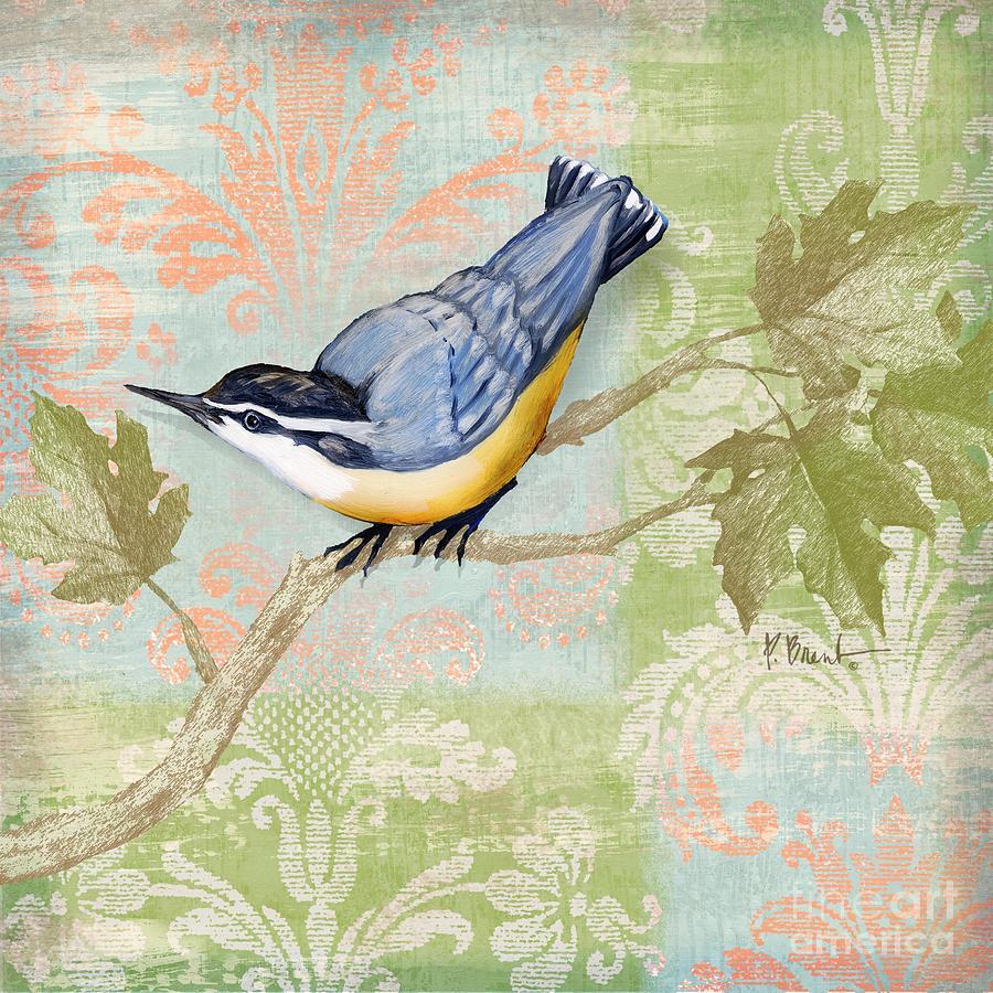Fabric Painting - Brocade Songbird IIi by Paul Brent