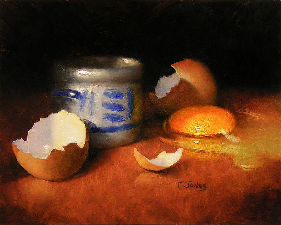 Food Painting - Broken Egg And Ceramic by Timothy Jones