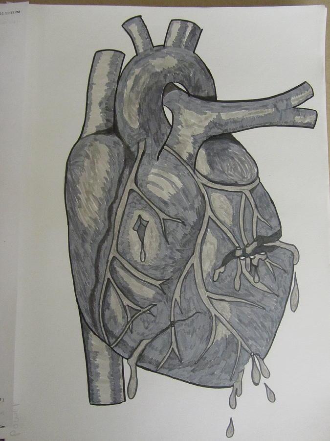 Heart Drawing - Broken Heart by Rosanne Bartlett