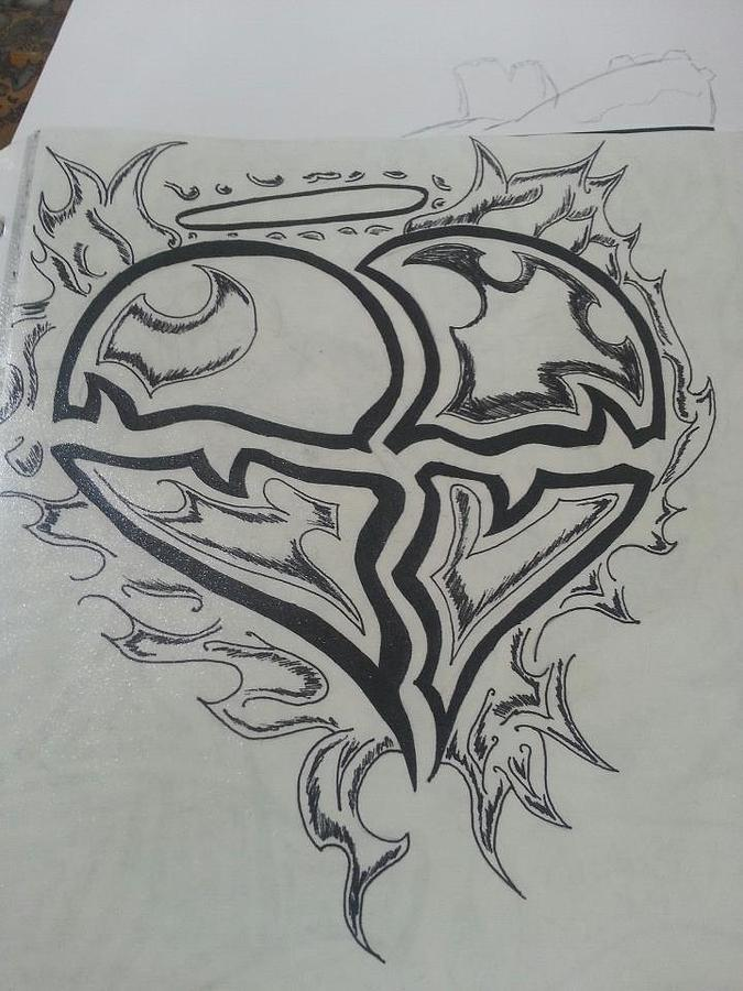 Heartflamestribalsacred Heart Drawing - Broken by Kristin Smith