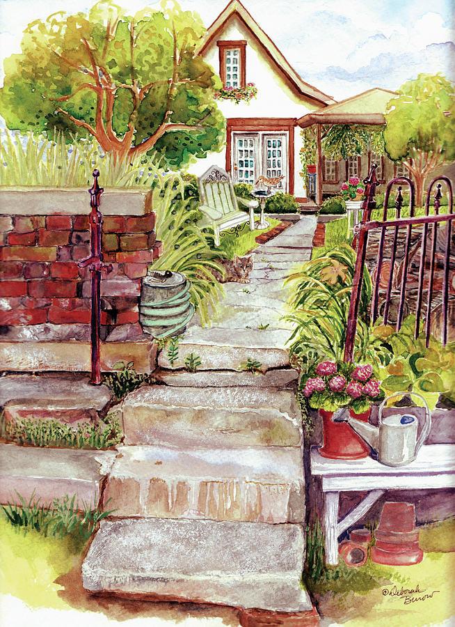 Steps Painting - Broken Steps by Deborah Burow