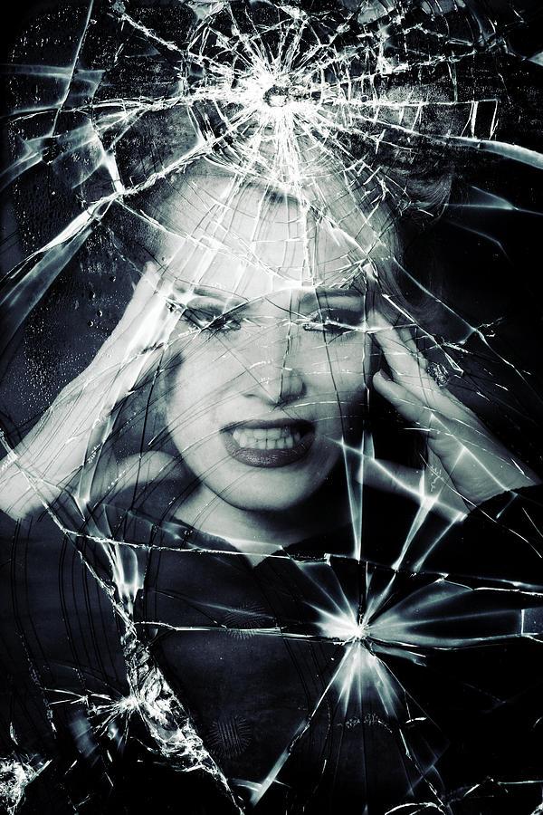 Woman Photograph - Broken Window by Joana Kruse