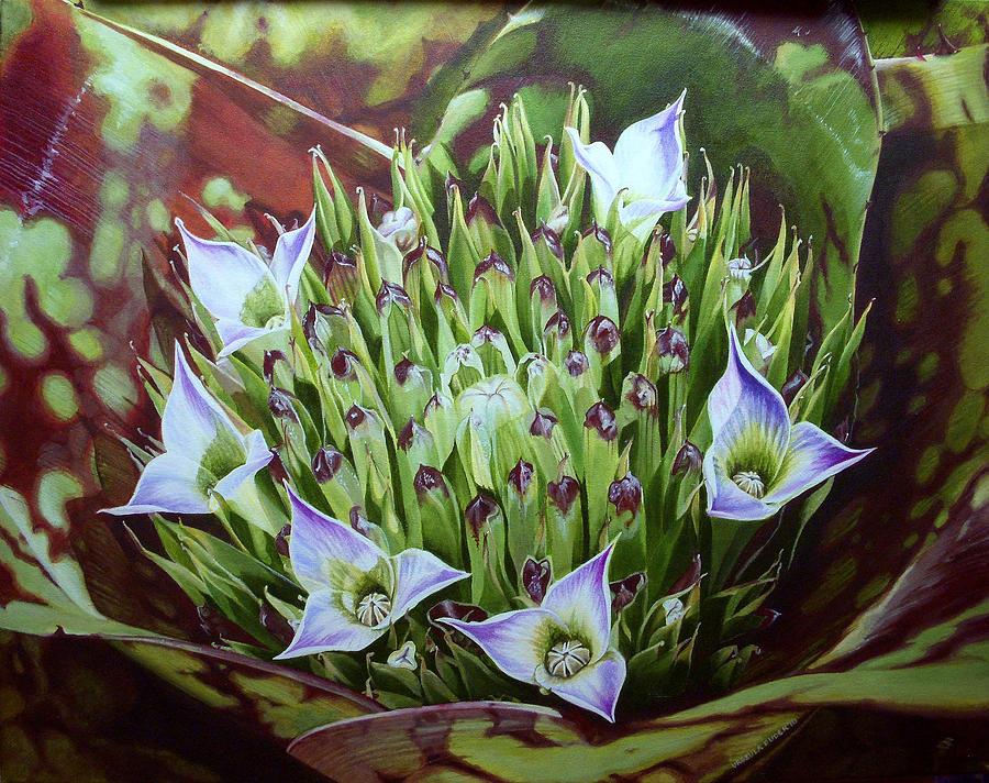 Bromeliad Painting - Bromeliad In Bloom by Urszula Dudek