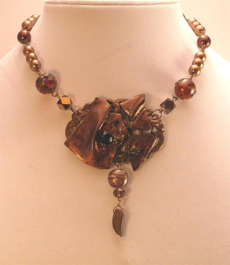 Bronze Original Art Piece Choker Necklace by Outre Art  Natalie Eisen