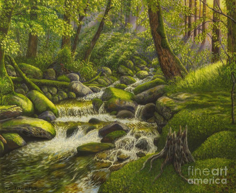 Artist Painting - Brook In The Forest by Veikko Suikkanen