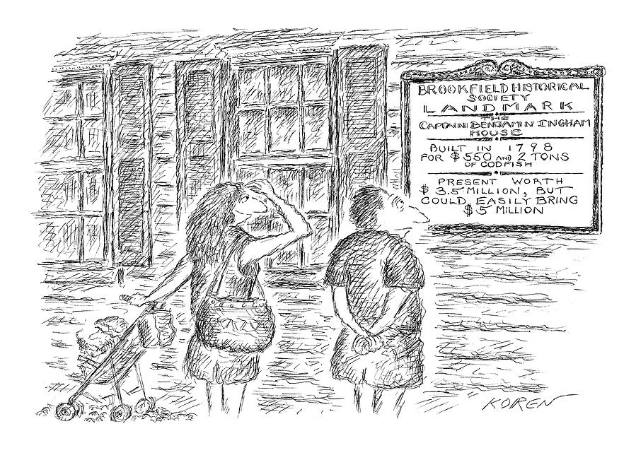 Prices Drawing - Brookfield Historical Society Landmark The by Edward Koren