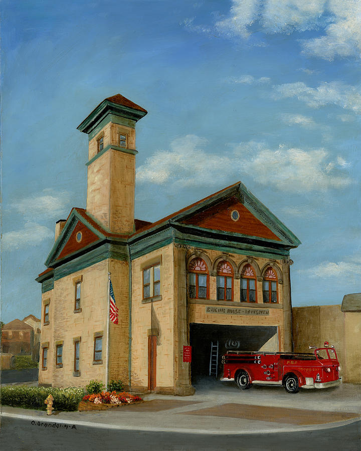 Brookline Historical Engine House Painting by Cecilia Brendel