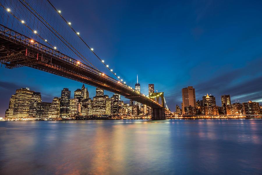 Cityscape Photograph - Brooklyn Bridge - Manhattan Skyline by Larry Marshall