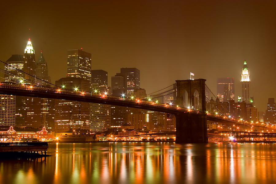 Architecture Photograph - Brooklyn Bridge And Downtown Manhattan by Val Black Russian Tourchin