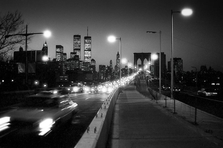 1980s Photograph - Brooklyn Bridge And Manhattan Skyline At Dusk 1980s by Gary Eason