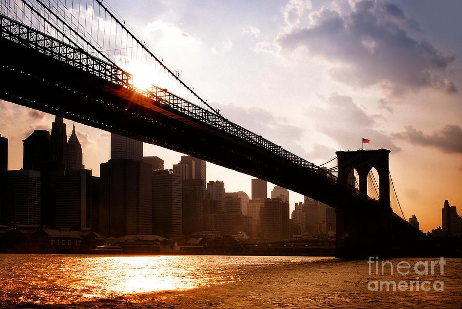 New York City Photograph - Brooklyn Bridge And Skyline Manhattan New York City by Sabine Jacobs